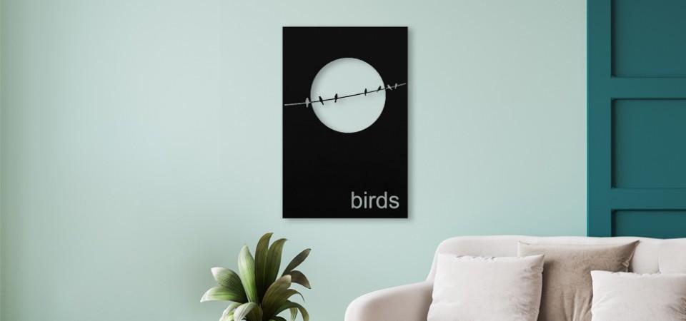 Kuş Desenli Metal Tablo