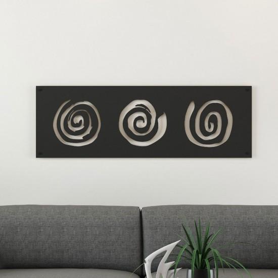 Spiral Desenli Siyah Metal Tablo