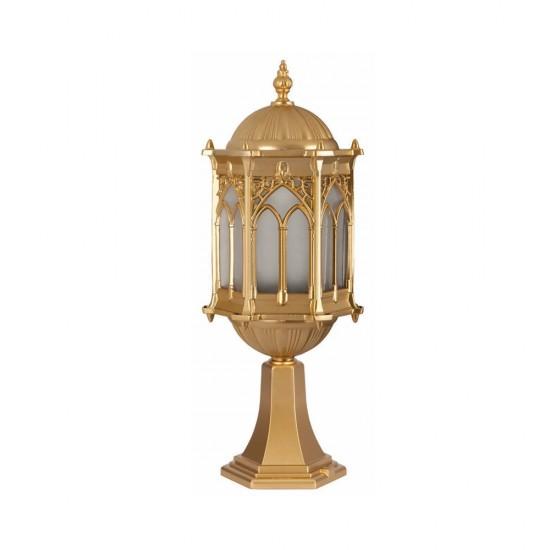 Ferforje Alüminyum Armatür Dik Altın Sarısı Osmanlı Desenli Sarı