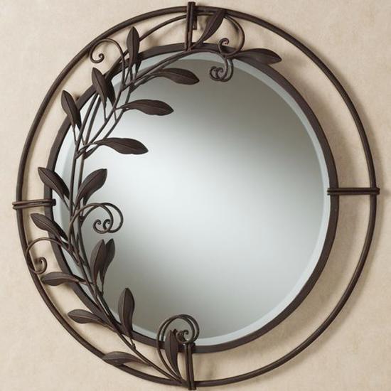 Ferforje Ayna Yaprak Desenli Siyah
