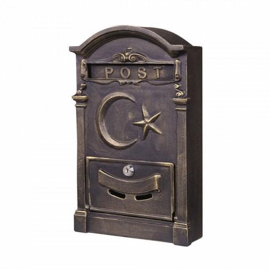 Ferforje Posta Kutusu Ay Yıldızlı Siyah