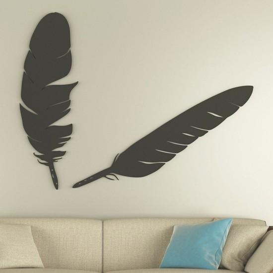 Dekoratif Kuş Tüyü Siyah Metal Tablo