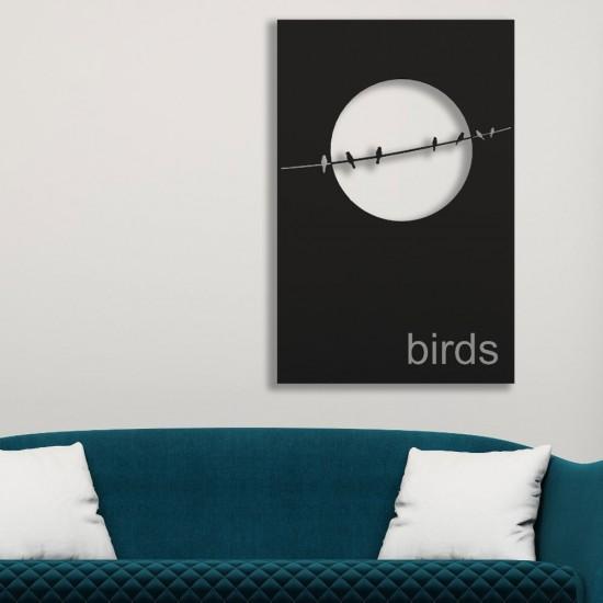 Sıralı Kuş Desenli Siyah Metal Tablo