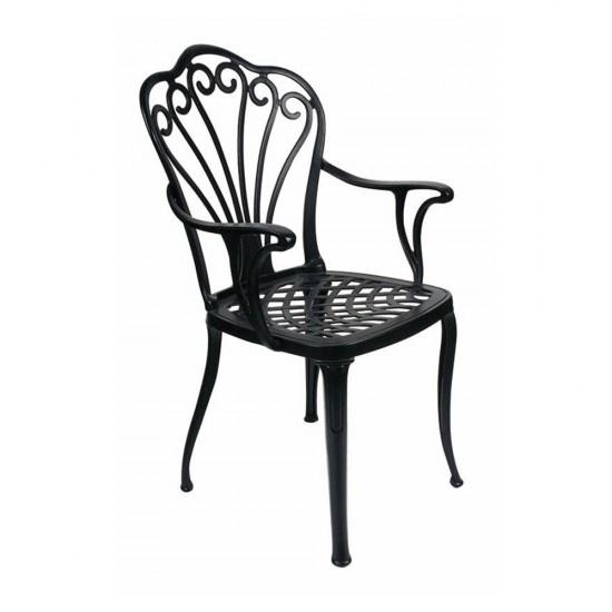 Ferforje Kollu Sandalye - Desenli Siyah