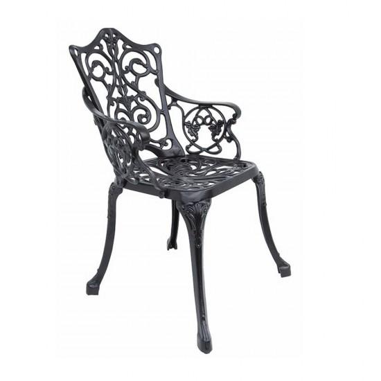 Ferforje Kollu Sandalye Sarmaşık Desenli Siyah