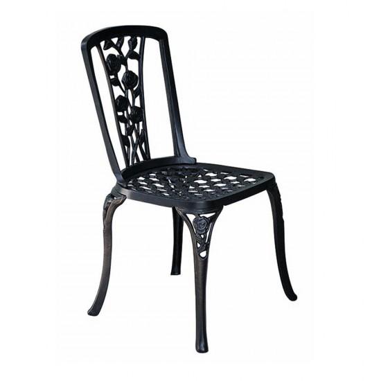 Ferforje Gül Desenli Kolsuz Sandalye Siyah