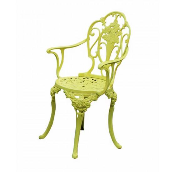 Ferforje Kollu Sandalye Gül Desenli Sarı