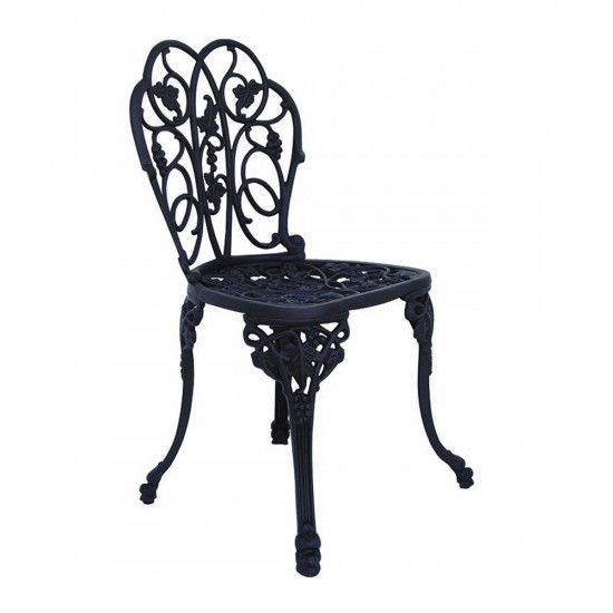 Ferforje Kollu Sandalye Yaprak Desenli Siyah